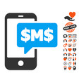 phone sms icon with lovely bonus vector image