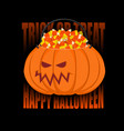 pumpkin basket for halloween trick or treat corn vector image