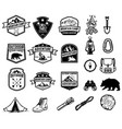 set of camping hiking tourism emblems design vector image