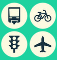 transport icons set collection of aircraft vector image
