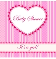Baby shower with heart banner girl vector image
