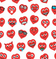 seamless background of heart emoticons vector image