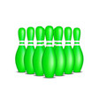 Bowling pins in green design with white stripes vector image
