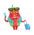 strawberry traveler holding his ticket and vector image