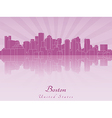 Boston skyline in purple radiant orchid vector image