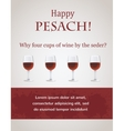 Happy passover - 4 cups of wine for Seder vector image