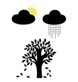 sun and rain with tree vector image