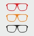 Glasses set with black yellow and red holder vector image