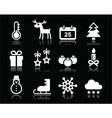 Christmas winter white icons set on black vector image