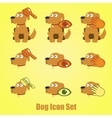 Dog icons set on a yellow background vector image