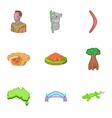 Australia tourism icons set cartoon style vector image