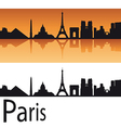Paris skyline in orange background vector image vector image