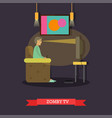 Tv zombie concept in flat vector image