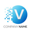 Realistic letter v logo in colorful circle vector image