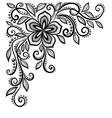 black-and-white lace flower in the corner vector image