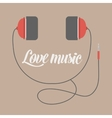 Headphones flat icon isolated on a brown vector image