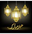 Eid Mubarak greeting with illuminated lamp vector image