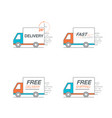 delivery icon set truck service order 24 hour vector image