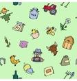 Seamless pattern Hand drawn Farm icon set vector image