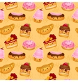 Seamless sweet baked pastries vector image