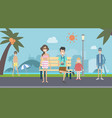tourism in nature park and island background vector image