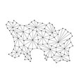 jersey map of polygonal mosaic lines network rays vector image