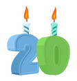 20 years birthday number with festive candle for vector image