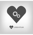 Grey heart with gear wheels vector image