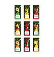 emblems for fruit milk 9 various tastes pear vector image