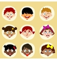 emotions and nationality avatars children vector image