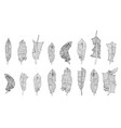set of hand-drawn feathers vector image
