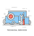 technical services computer repair support flat vector image
