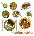 Brazilian barbeque dinner with lime cocktail icon vector image