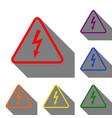 high voltage danger sign set of red orange vector image