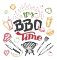 It is barbecue time hand drawn elements set vector image