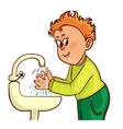 Little man washes his hands image vector image