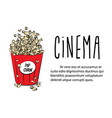 pop corn in large red paper box cinema box with vector image