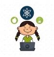 girl atom laptop idea vector image