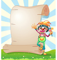 A clown with flowers beside the blank paper vector image vector image