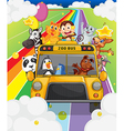 A zoo bus full of animals vector image