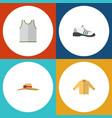 flat dress set of sneakers elegant headgear vector image