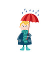 boy keeping umbrella in hand under rain vector image