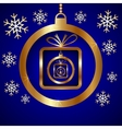 Blue Gold Decorative Christmas Greeting Card vector image