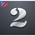 number two icon symbol 3D style Trendy modern vector image