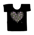 Black tshirt with floral print design vector image