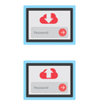 Cloud download and upload with security vector image vector image