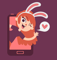 Cute Bunny Lover Girl Showing on Phone Screen vector image