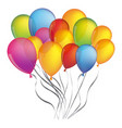 colorful bunch birthday balloons decorative design vector image