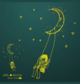 girl swinging on a moon vector image