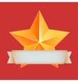 Golden 3d star with ribbon The best reward vector image